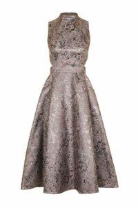 Womens Metallic Jacquard Prom Midi Dress - Grey, Grey