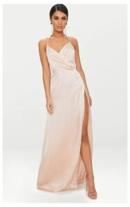 Lucie Champagne Silky Plunge Extreme Split Maxi Dress, Yellow