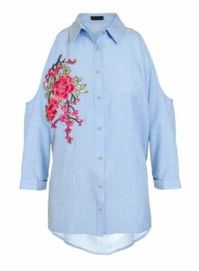 Womens *Quiz Light Blue Cold Shoulder Shirt- Blue