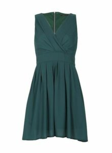 Womens *Tenki Green Plain Chiffon Dress- Green, Green