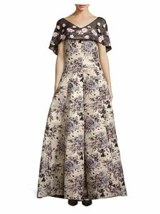 Floral Brocade Cape Gown