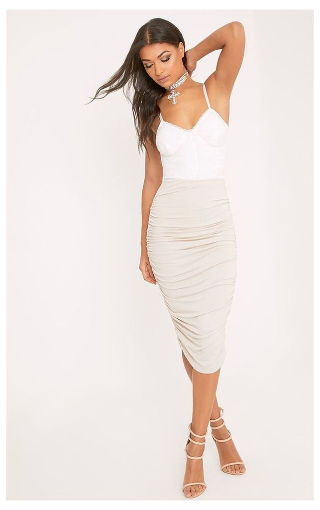 Stone Second Skin Ruched Side Midi Skirt, White