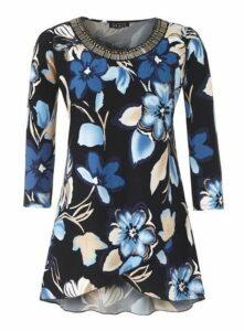 **Grace Multi Coloured Embellished Floral Tunic, Blue