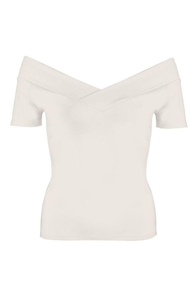 Quiz Cream Bardot Short Sleeve Top, Cream