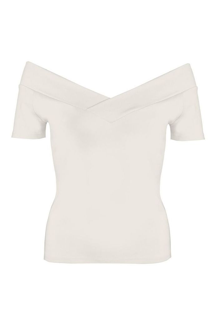 Quiz Cream Bardot Short Sleeve Top, Cream