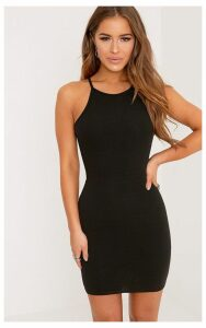 Petite Black High Neck Bodycon Mini Dress, Black
