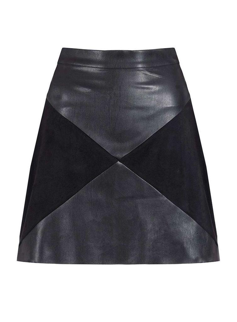 Womens **Quiz PU Panel Zip Mini Skirt- Black