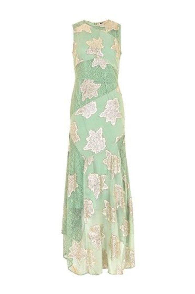 Womens Hanky Hem Lace Maxi Dress - Green, Green