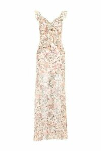 Womens Floral Ruffle Maxi Dress - Multi, Multi