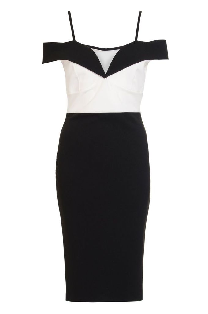 Quiz Black And Cream Bardot Midi Dress, Black