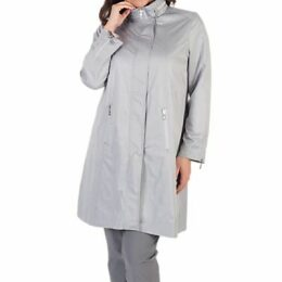 Chesca Ruched Collar Zip Raincoat, Grey