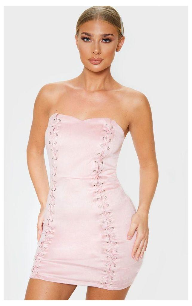 Kianah Rose Faux Suede Eyelet Detail Bandeau Bodycon Dress, Pink