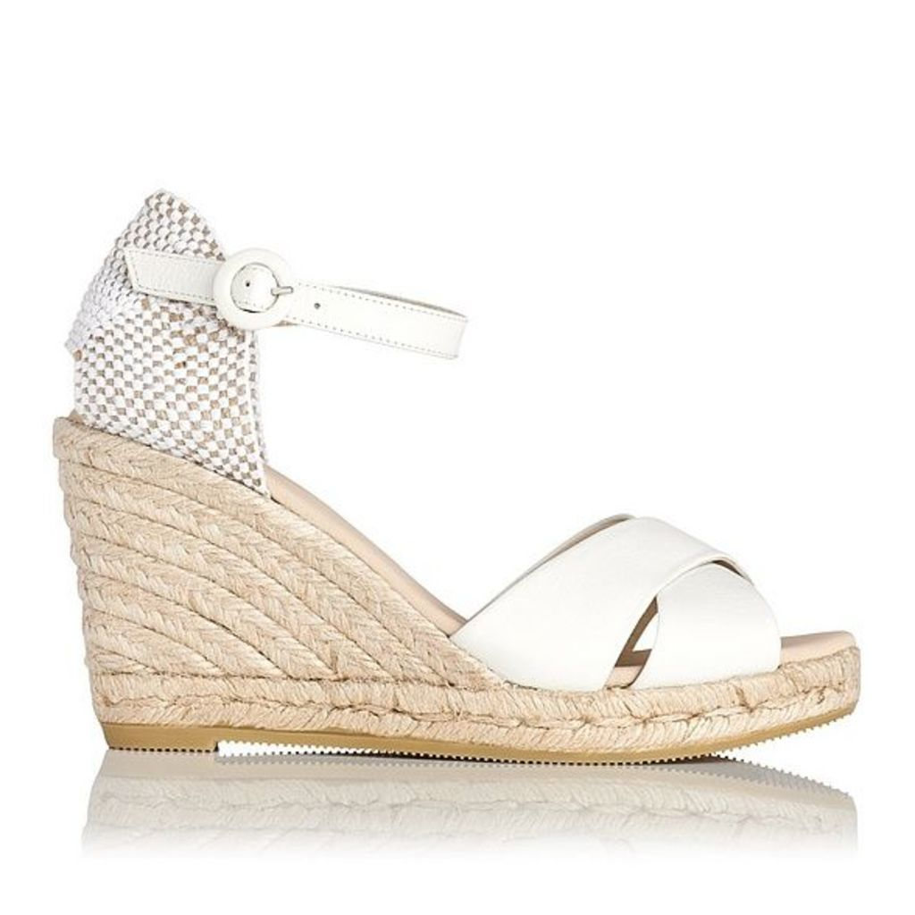 19eab999306 Angele Cream Leather Espadrille Wedge Sandals by L.K. Bennett