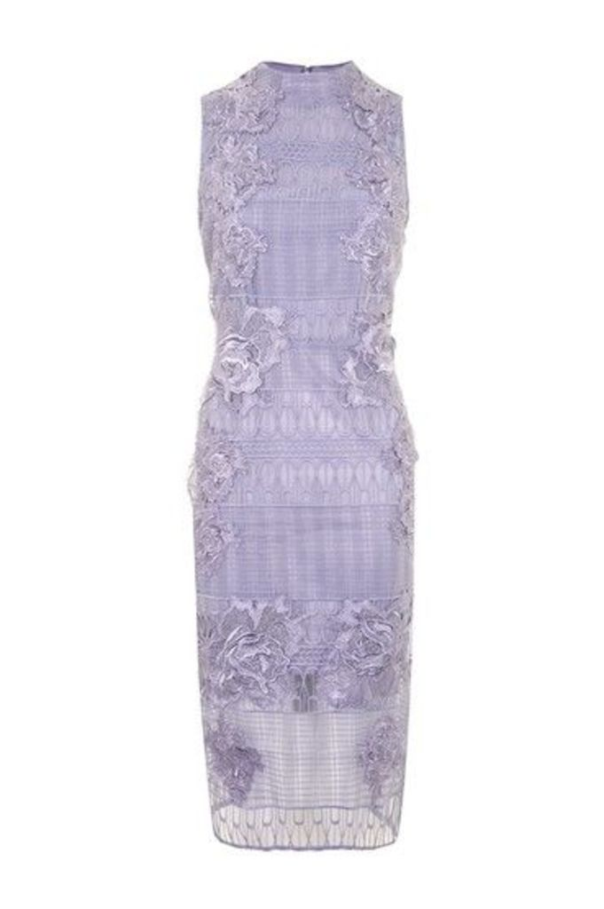 Womens Placement Flower Midi Dress - Lilac, Lilac