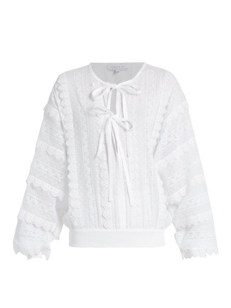 Andrew Gn - Lace Trimmed Tie Neck Cotton Blouse - Womens - White