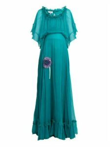 Luisa Beccaria - Bead Embellished Silk Georgette Dress - Womens - Green