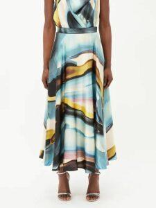 Valentino - Cape Sleeve Silk Crepe De Chine Dress - Womens - Green