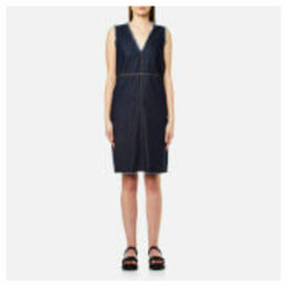 MM6 Maison Margiela Women's Mid Length Frayed Edge Popper Detail Dress - Indigo
