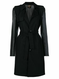Jean Paul Gaultier Pre-Owned faux-leather sleeves belted coat - Black