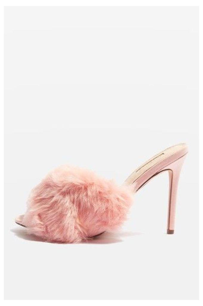 Womens ROA Faux Fur Mules - Dark Pink, Dark Pink