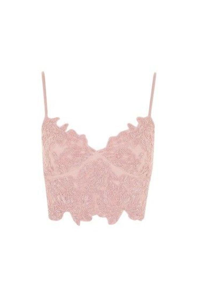 Womens Embroidered Cutwork Bralet - Blush, Blush