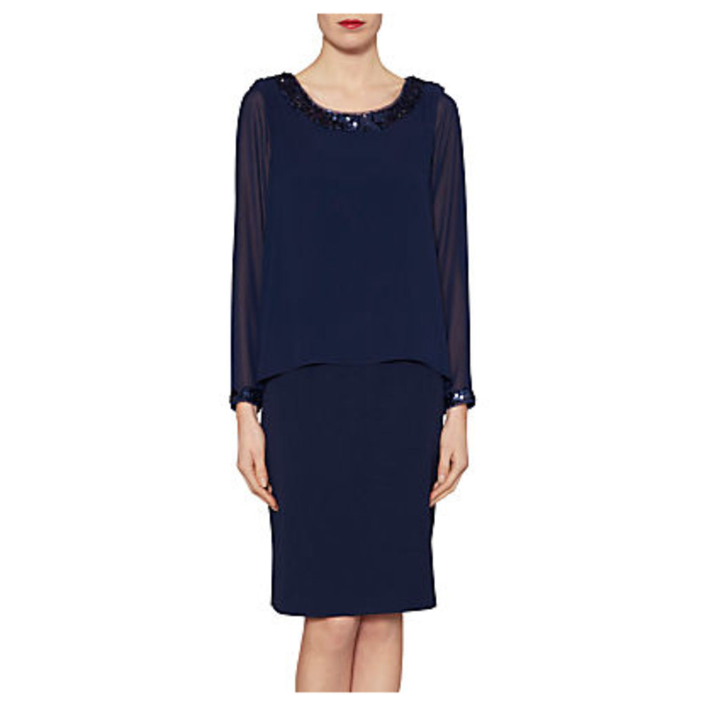 Gina Bacconi Crepe Dress With Sequin Trim Chiffon Top