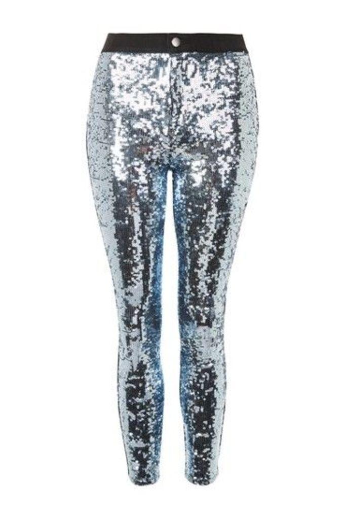 Womens MOTO Disco Sequin Joni Jeans - Silver, Silver