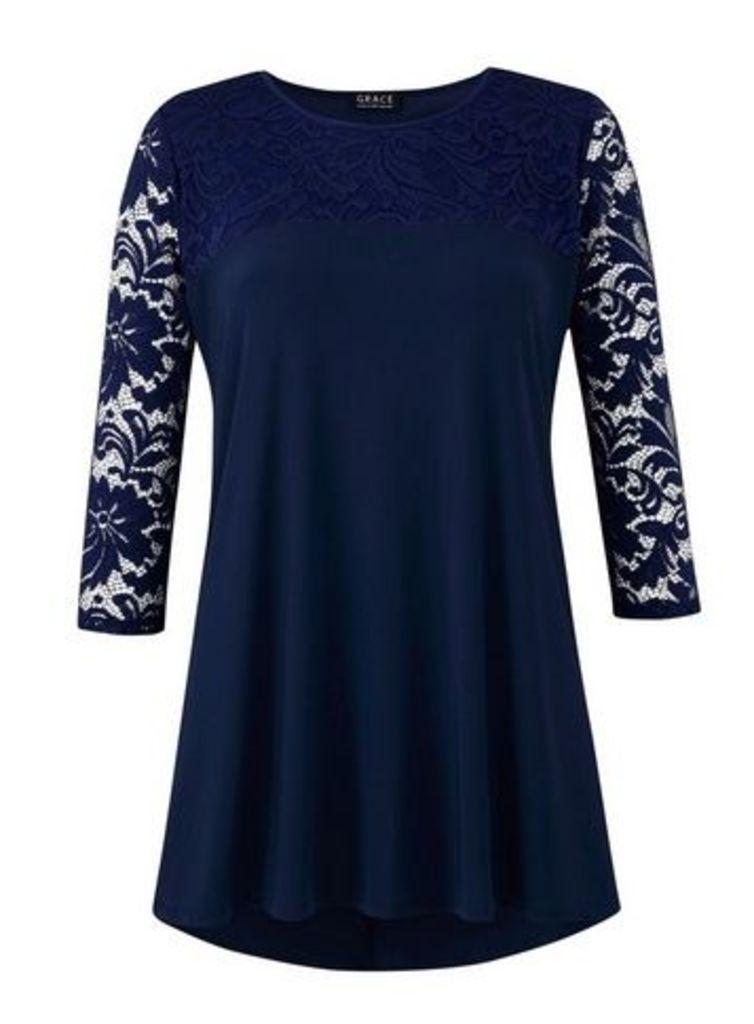 **Grace Navy Blue Lace Sleeve Tunic Top, Navy