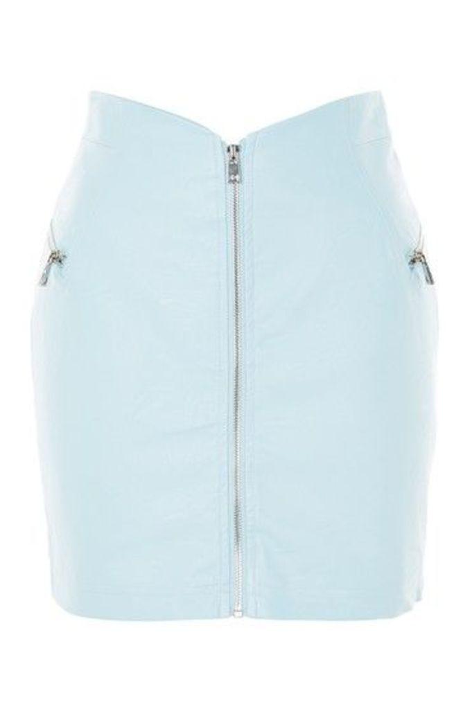 Womens '80s Zip Through Mini Skirt - Pale Blue, Pale Blue