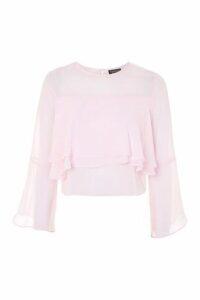 Womens Flute Crinkle Sleeve Top - Pink, Pink