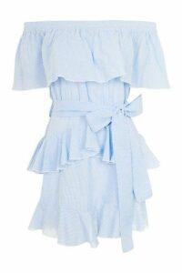 Womens Stripe Frill Bardot Dress - Light Blue, Light Blue