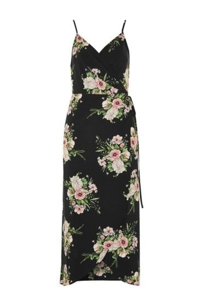 Womens Strappy Floral Wrap Dress - Black, Black