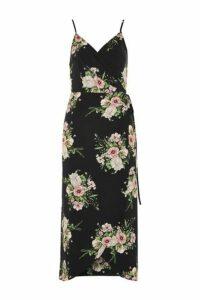 Womens Strappy Floral Wrap Dress - Black, Black