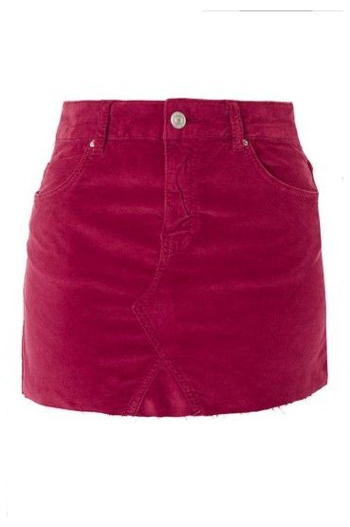 Womens MOTO Velvet Mini Skirt - Pink, Pink