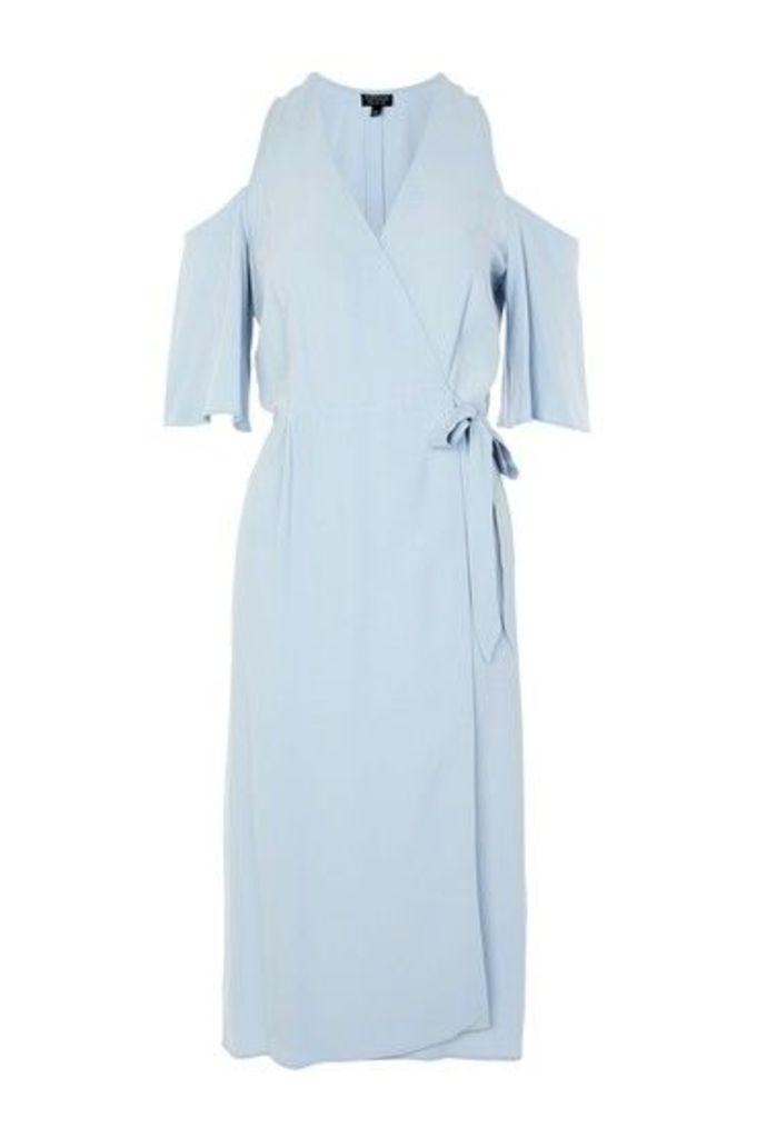 Womens Cold Shoulder Midi Wrap Dress - Blue, Blue
