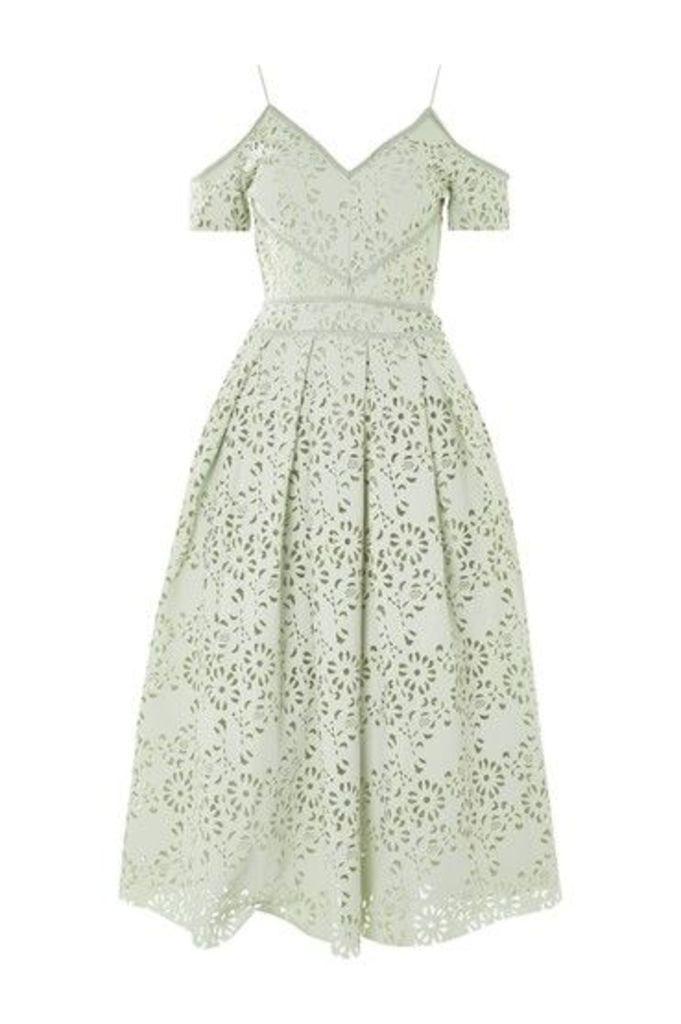 Womens PETITE Laser Cut Bardot Dress - Mint, Mint