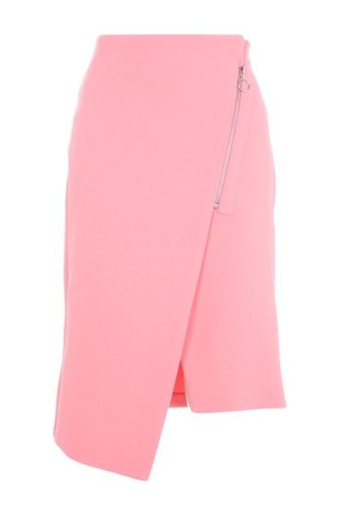 Womens Asymmetric Zip Midi Skirt - Pink, Pink