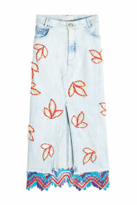 Peter Pilotto Embroidered Denim Front-Slit Skirt