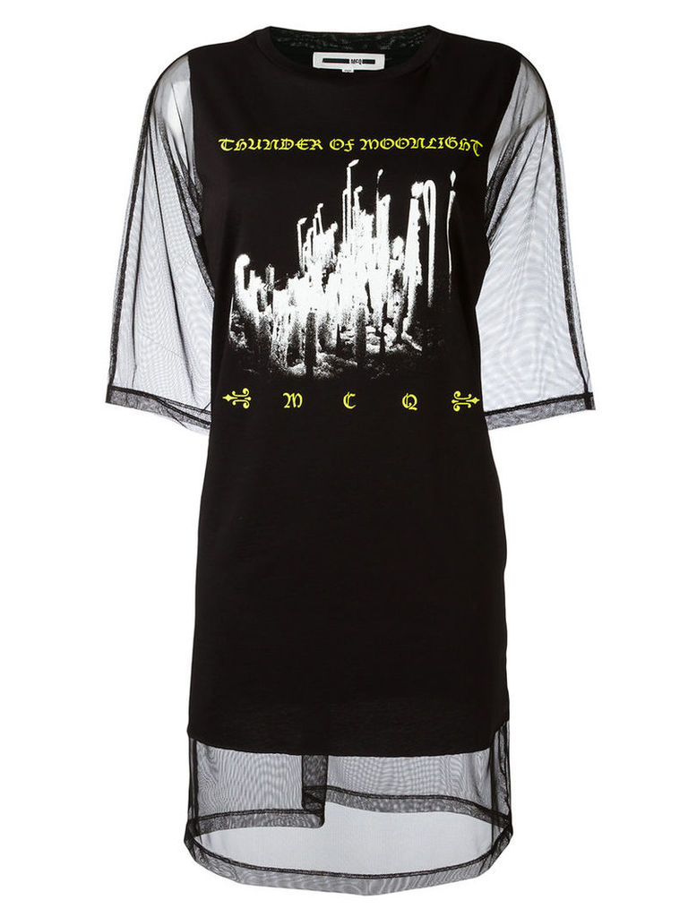 McQ Alexander McQueen - mesh T-shirt dress - women - Cotton/Polyester - M, Women's, Black