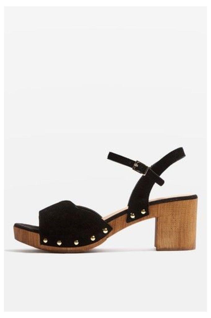 Womens VALENTINE Sweetheart Sandals - Black, Black