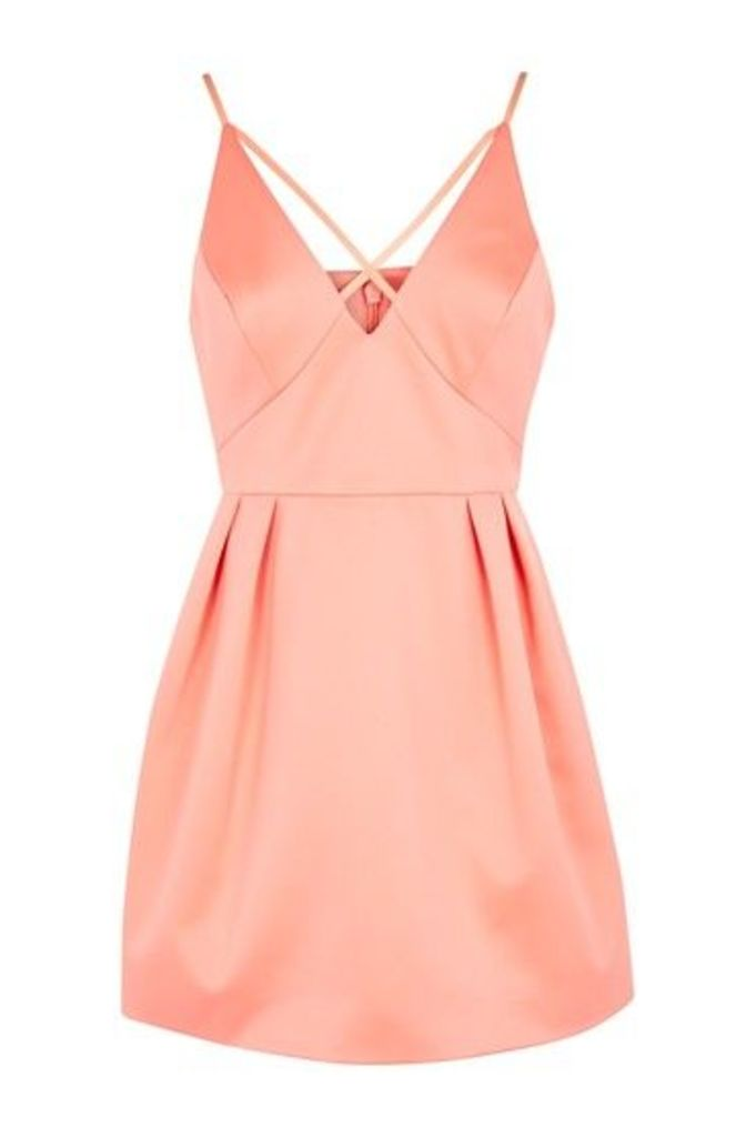 Womens PETITE Cross Front Prom Dress - Coral, Coral