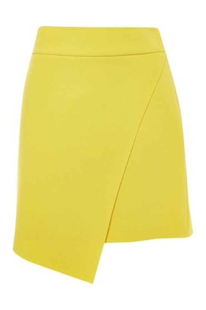 Womens Assymetric Wrap Mini Skirt - Yellow, Yellow