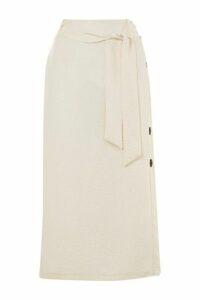 Womens Button Side Tie Midi Skirt - White, White