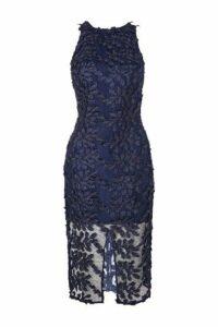 Womens Leaf Applique Midi Dress - Electric Blue, Electric Blue