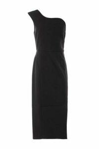 Womens Scallop One Shoulder Dress - Black, Black