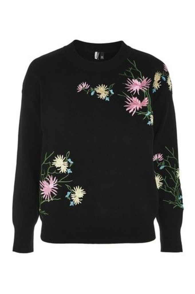Womens Floral Embroidered Sweatshirt - Black, Black