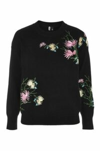 Womens Floral Embroidered Sweatshirt - Black, Black