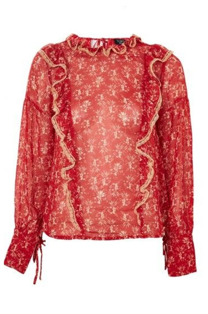 Womens Floral Bouquet Lace Trim Top - Red, Red