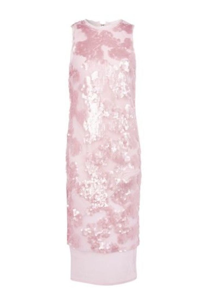 Womens Sequin Airtex Midi Dress - Pink, Pink