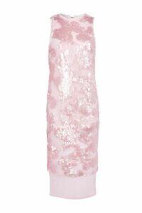 Womens Sequin Airtex Midi Dress - Pink, Pink